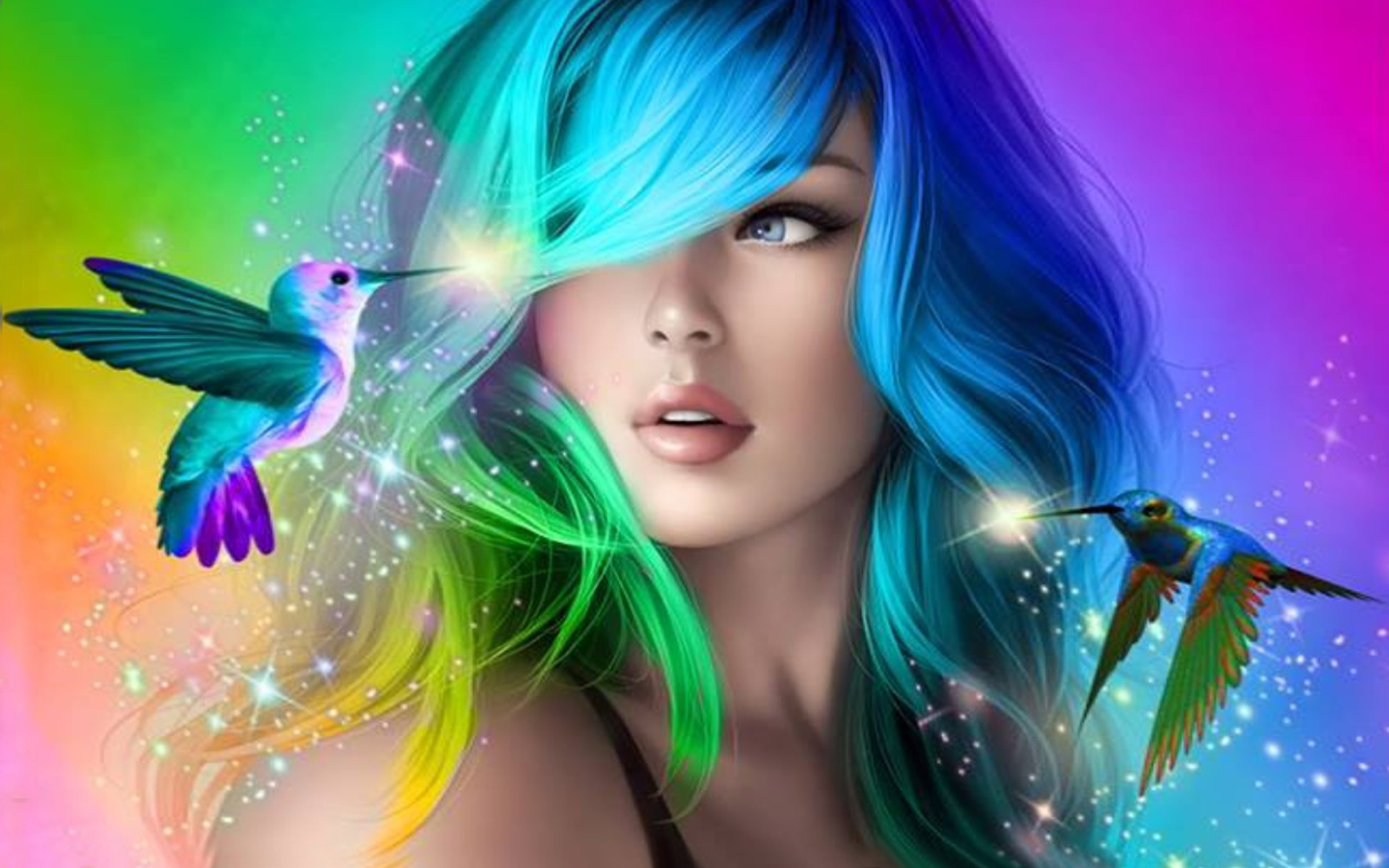 Beautiful Girl With Colorful Hair Desktop Wallpaper Hd For